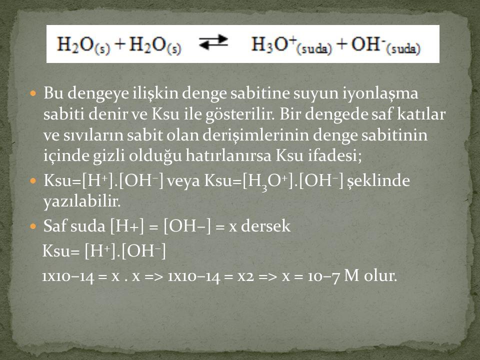 Bu dengeye ilişkin denge sabitine suyun iyonlaşma sabiti denir ve Ksu ile gösterilir.