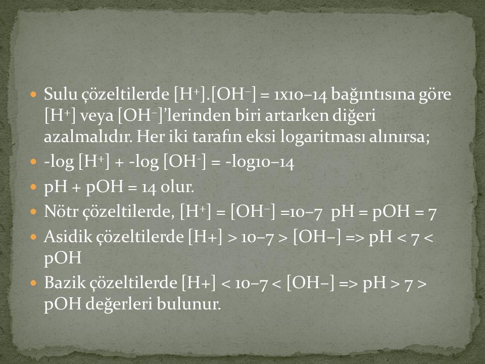Sulu çözeltilerde [H + ].[OH – ] = 1x10–14 bağıntısına göre [H + ] veya [OH – ]'lerinden biri artarken diğeri azalmalıdır.