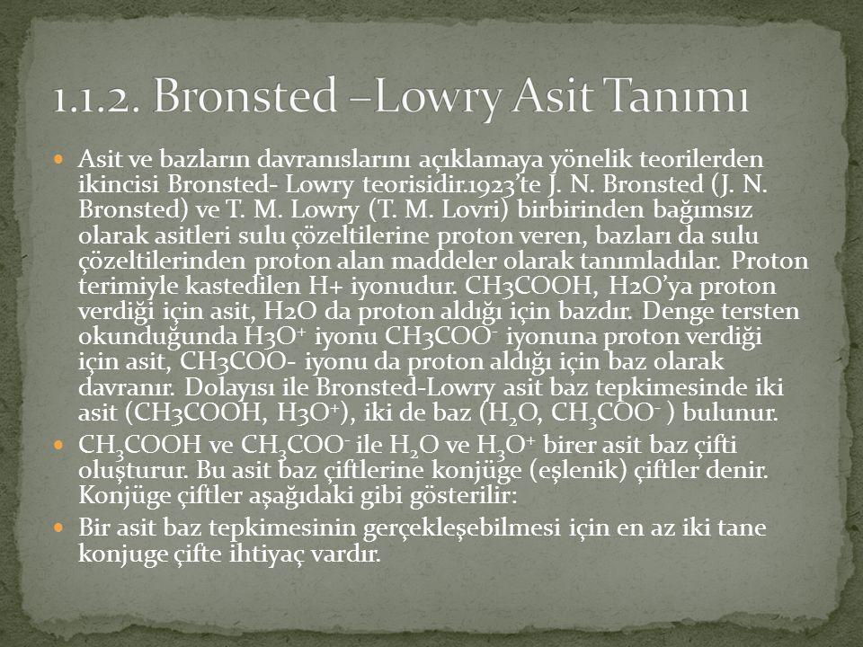 Asit ve bazların davranıslarını açıklamaya yönelik teorilerden ikincisi Bronsted- Lowry teorisidir.1923'te J.