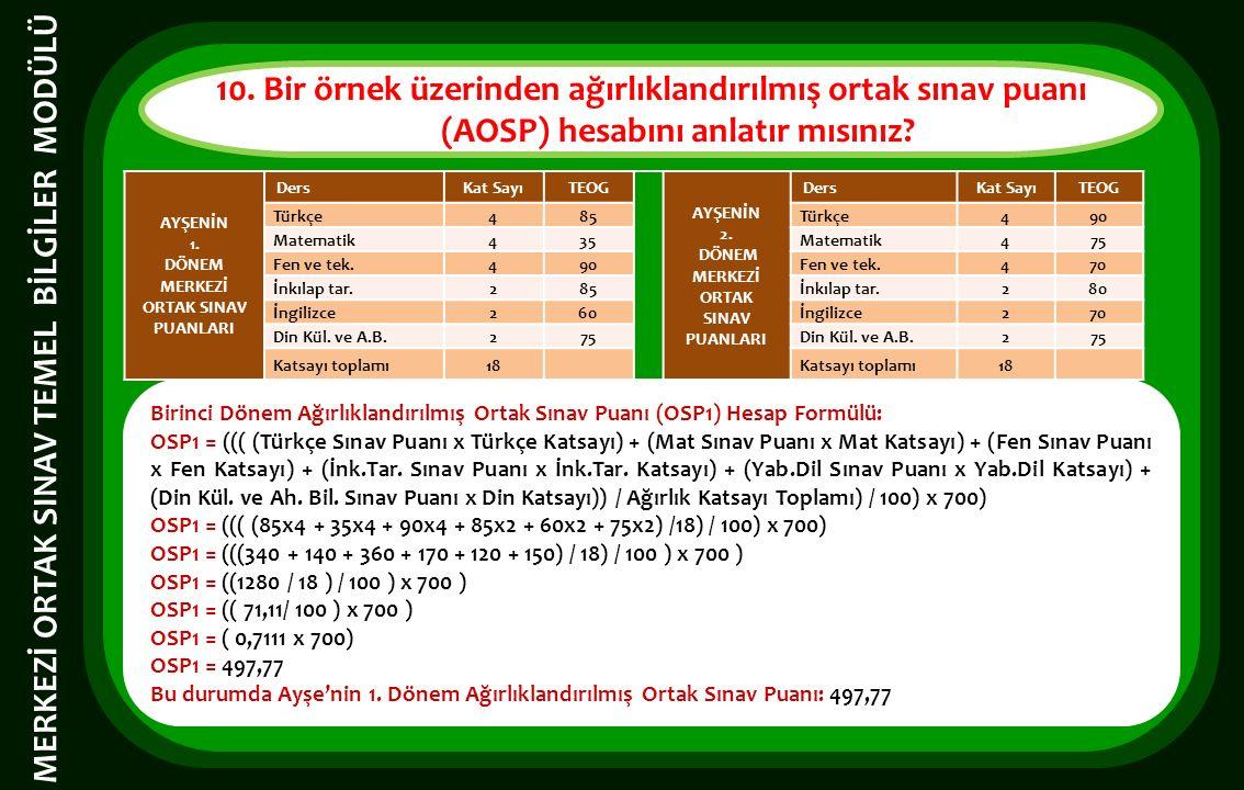 Birinci Dönem Ağırlıklandırılmış Ortak Sınav Puanı (OSP1) Hesap Formülü: OSP1 = ((( (Türkçe Sınav Puanı x Türkçe Katsayı) + (Mat Sınav Puanı x Mat Kat