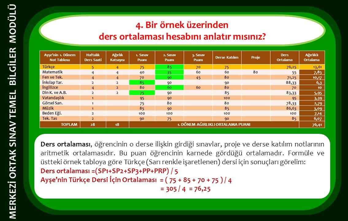 4. Bir örnek üzerinden ders ortalaması hesabını anlatır mısınız.
