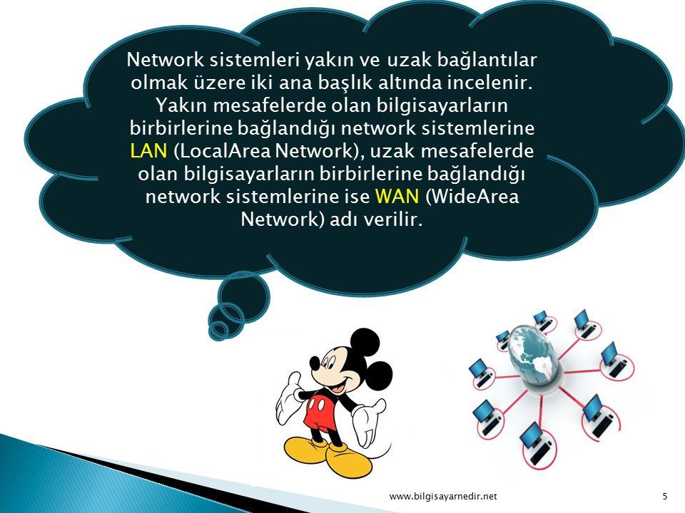 Network sistemleri yakın ve uzak bağlantılar olmak üzere iki ana başlık altında incelenir. Yakın mesafelerde olan bilgisayarların birbirlerine bağland