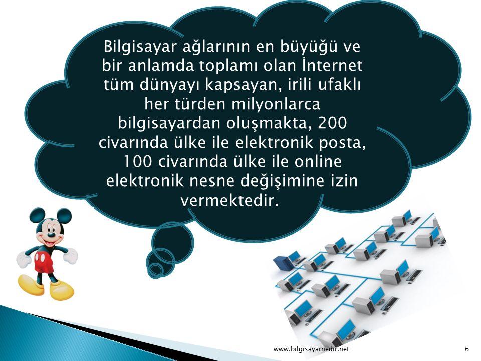 Bilgisayar ağlarının en büyüğü ve bir anlamda toplamı olan İnternet tüm dünyayı kapsayan, irili ufaklı her türden milyonlarca bilgisayardan oluşmakta, 200 civarında ülke ile elektronik posta, 100 civarında ülke ile online elektronik nesne değişimine izin vermektedir.