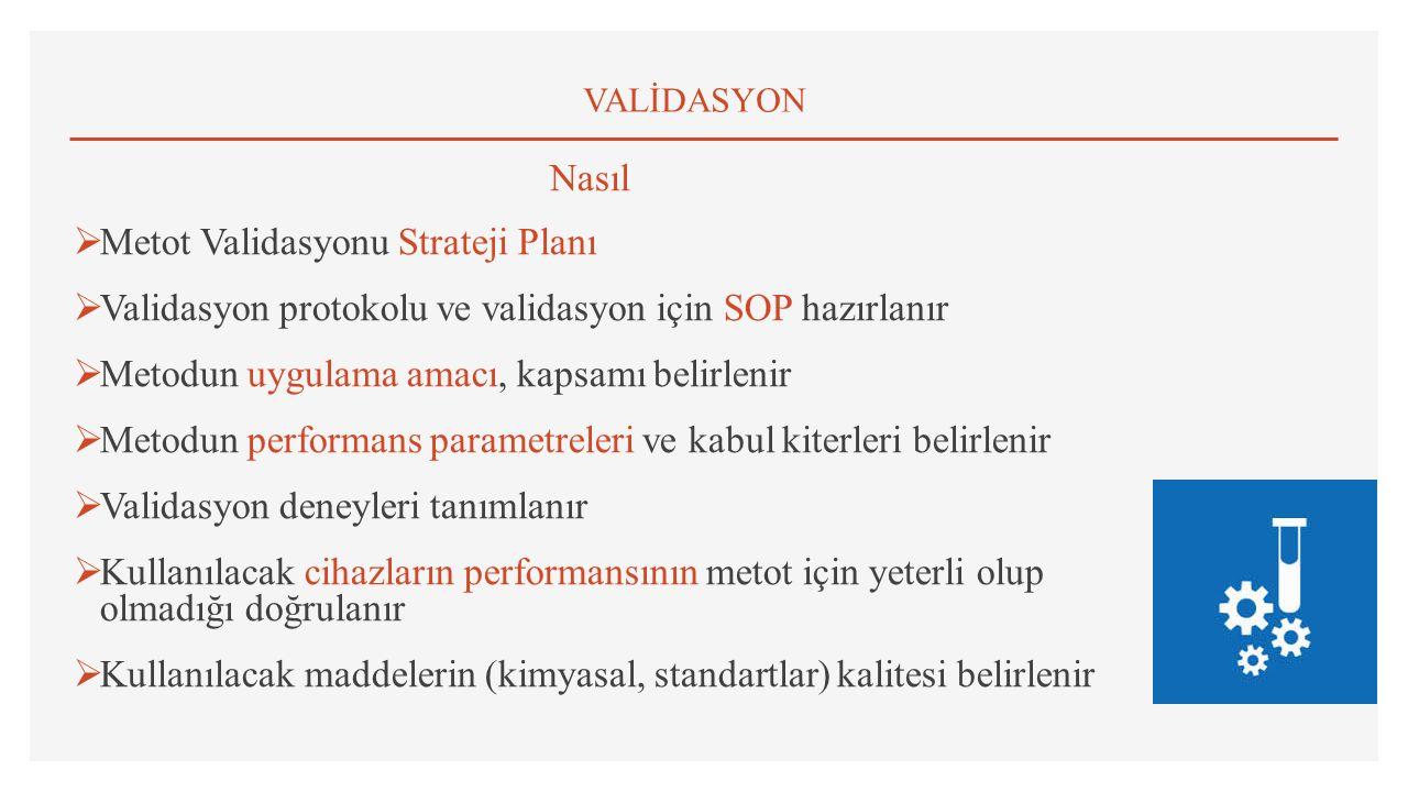 VALİDASYON Nasıl  Metot Validasyonu Strateji Planı  Validasyon protokolu ve validasyon için SOP hazırlanır  Metodun uygulama amacı, kapsamı belirlenir  Metodun performans parametreleri ve kabul kiterleri belirlenir  Validasyon deneyleri tanımlanır  Kullanılacak cihazların performansının metot için yeterli olup olmadığı doğrulanır  Kullanılacak maddelerin (kimyasal, standartlar) kalitesi belirlenir