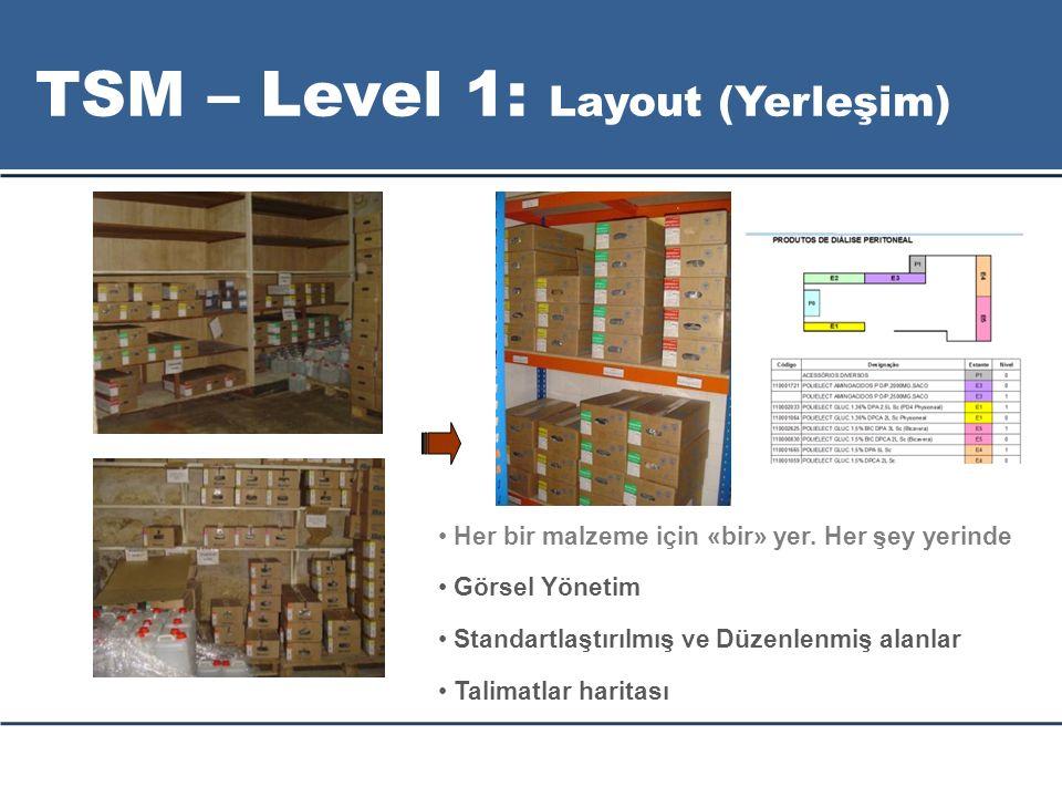Her bir malzeme için «bir» yer. Her şey yerinde Görsel Yönetim Standartlaştırılmış ve Düzenlenmiş alanlar Talimatlar haritası TSM – Level 1: Layout (Y