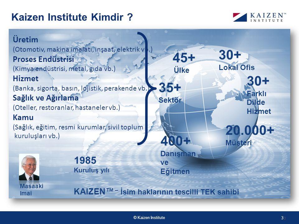 © Kaizen Institute 3 45+ Ülke 1985 Kuruluş yılı 400+ Danışman ve Eğitmen KAIZEN™ – İsim haklarının tescilli TEK sahibi 20.000+ Müşteri 35+ Sektör Masaaki Imai Kaizen Institute Kimdir .