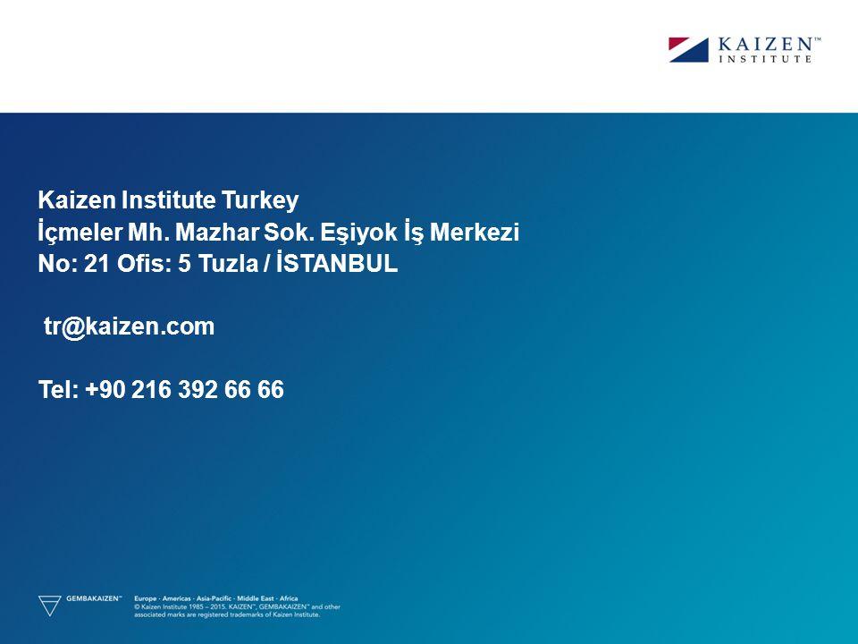 Kaizen Institute Turkey İçmeler Mh. Mazhar Sok. Eşiyok İş Merkezi No: 21 Ofis: 5 Tuzla / İSTANBUL tr@kaizen.com Tel: +90 216 392 66 66