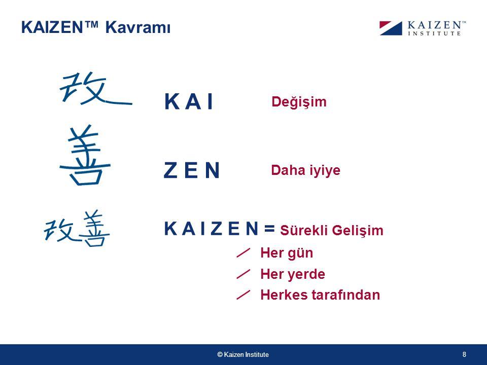 © Kaizen Institute KAIZEN™ Kavramı K A I Z E N = Sürekli Gelişim Her gün Her yerde Herkes tarafından Değişim Daha iyiye Z E N K A I 8