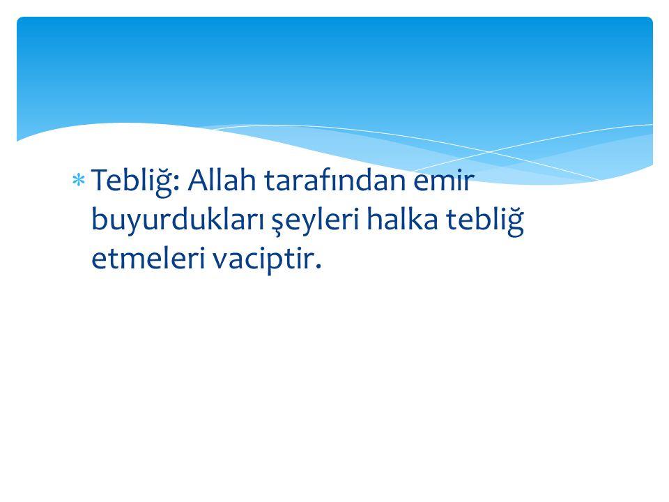  Tebliğ: Allah tarafından emir buyurdukları şeyleri halka tebliğ etmeleri vaciptir.