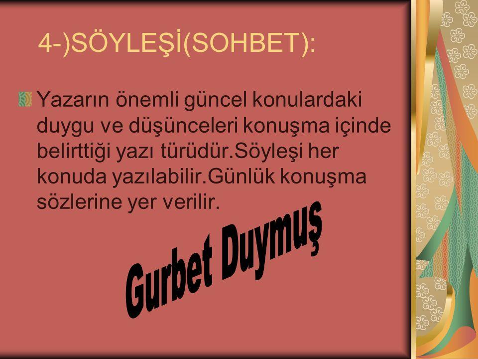 5-)ELEŞTİRİ: Bir düşünce veya sanat eserlerini onun olumlu veya olumsuz yönlerini ortaya koyan cümlelere denir.Türk Edebiyatı'nda en tanınmış eleştirici NURULLAH ATAŞ'tır.