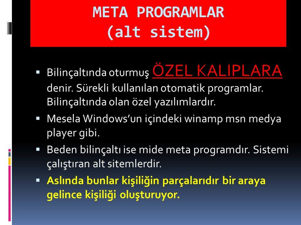 META PROGRAMLAR (alt sistem)  Bilinçaltında oturmuş ÖZEL KALIPLARA denir. Sürekli kullanılan otomatik programlar. Bilinçaltında olan özel yazılımlard