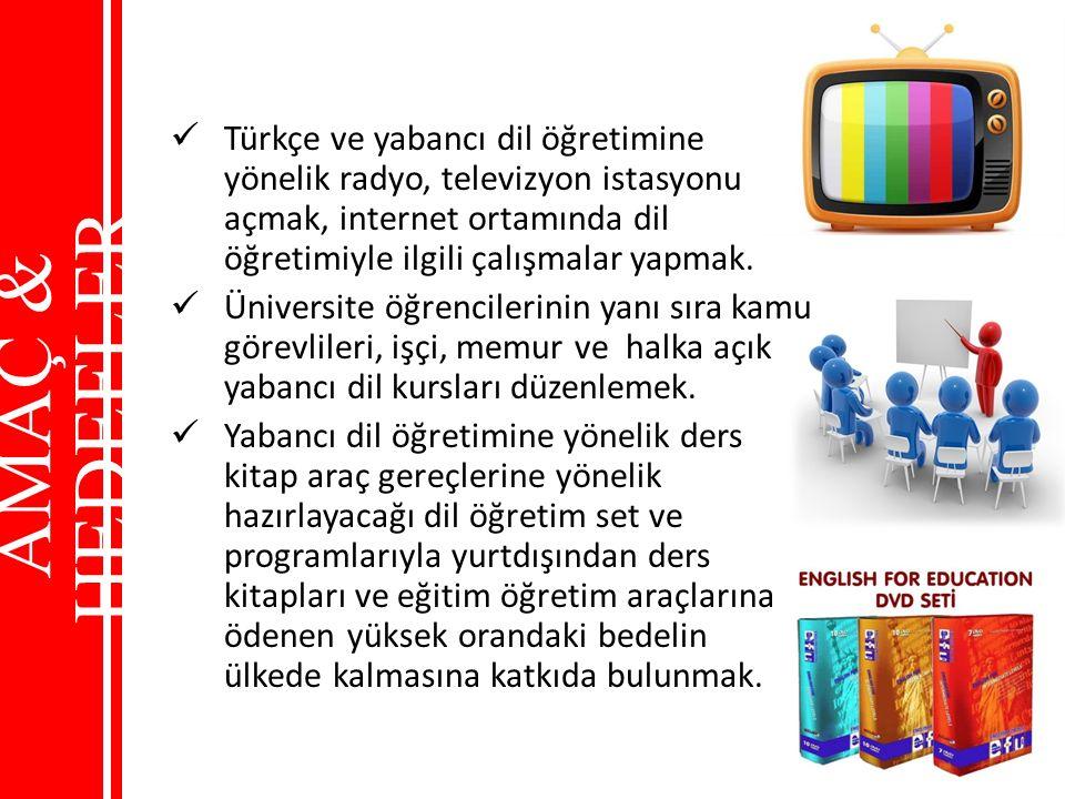 Türkçe ve yabancı dil öğretimine yönelik radyo, televizyon istasyonu açmak, internet ortamında dil öğretimiyle ilgili çalışmalar yapmak. Üniversite öğ