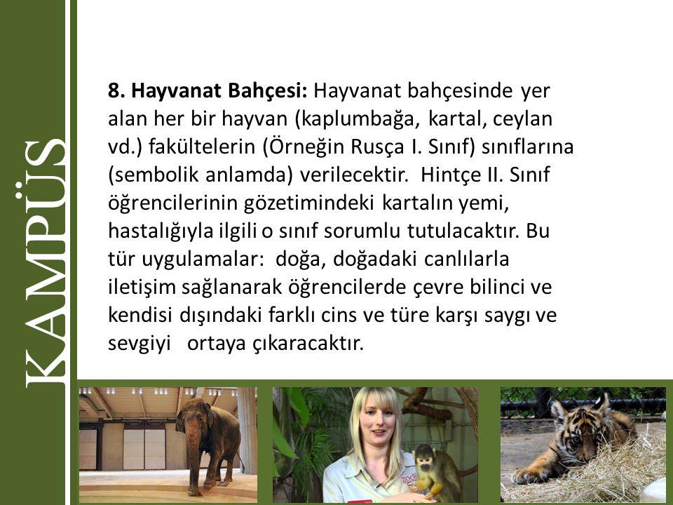 8. Hayvanat Bahçesi: Hayvanat bahçesinde yer alan her bir hayvan (kaplumbağa, kartal, ceylan vd.) fakültelerin (Örneğin Rusça I. Sınıf) sınıflarına (s