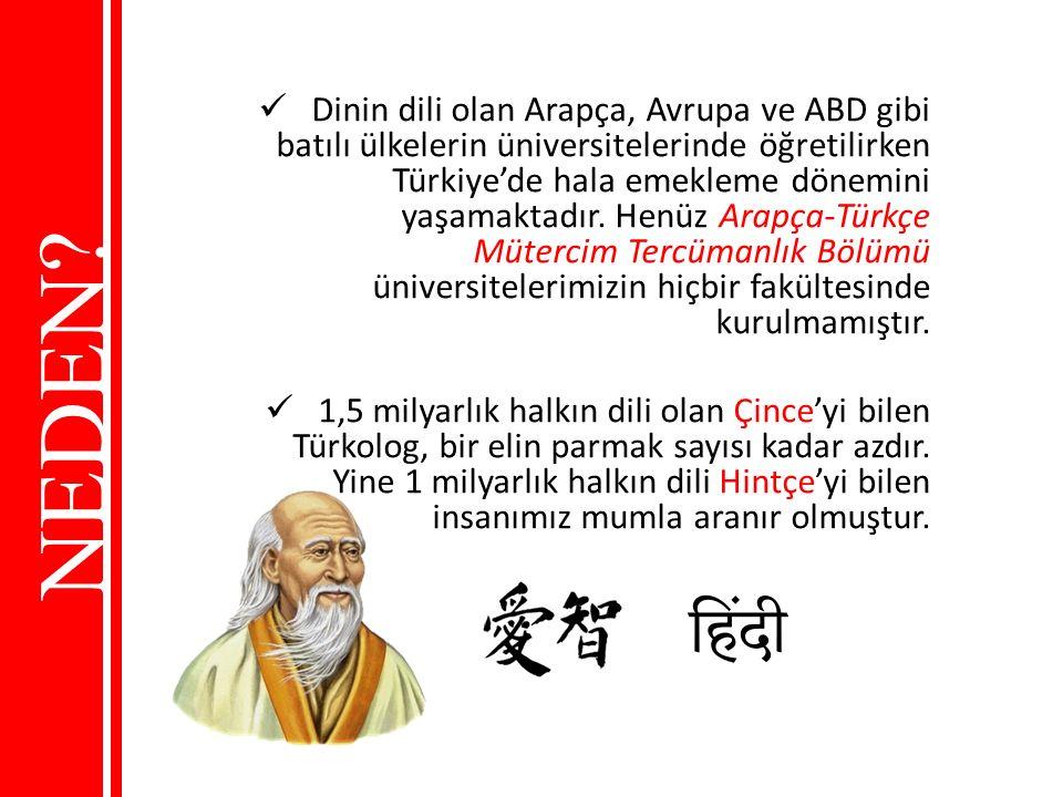 NEDEN? Dinin dili olan Arapça, Avrupa ve ABD gibi batılı ülkelerin üniversitelerinde öğretilirken Türkiye'de hala emekleme dönemini yaşamaktadır. Henü