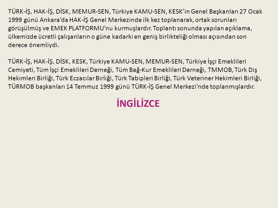 TÜRK-İŞ, HAK-İŞ, DİSK, MEMUR-SEN, Türkiye KAMU-SEN, KESK'in Genel Başkanları 27 Ocak 1999 günü Ankara'da HAK-İŞ Genel Merkezinde ilk kez toplanarak, ortak sorunları görüşülmüş ve EMEK PLATFORMU'nu kurmuşlardır.