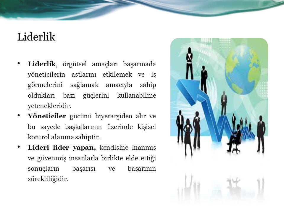 Liderlik Liderlik, örgütsel amaçları başarmada yöneticilerin astlarını etkilemek ve iş görmelerini sağlamak amacıyla sahip oldukları bazı güçlerini kullanabilme yetenekleridir.