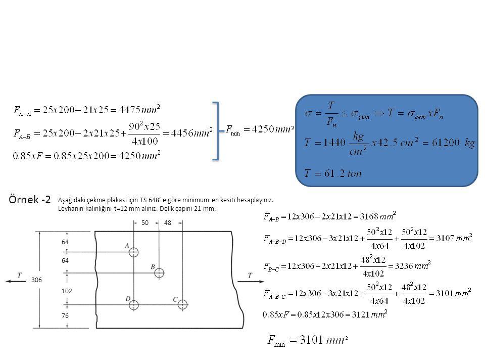 Örnek -2 Aşağıdaki çekme plakası için TS 648' e göre minimum en kesiti hesaplayınız.