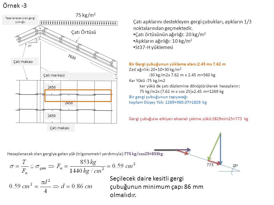Örnek -3 Çatı Örtüsü 75 kg/m 2 7620 2450 Çatı makası Çatı merkezi Tasarlanacak olan gergi çubuğu Çatı aşıklarını destekleyen gergi çubukları, aşıkların 1/3 noktalarından geçmektedir.