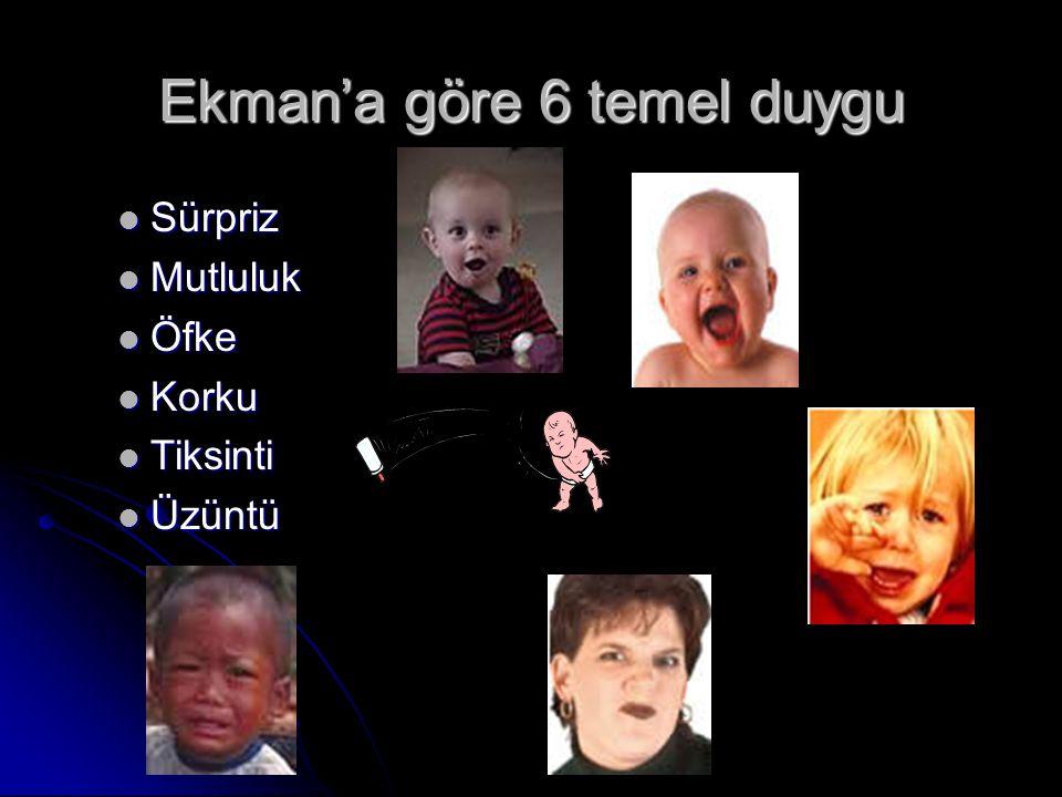 Ekman'a göre 6 temel duygu Sürpriz Sürpriz Mutluluk Mutluluk Öfke Öfke Korku Korku Tiksinti Tiksinti Üzüntü Üzüntü