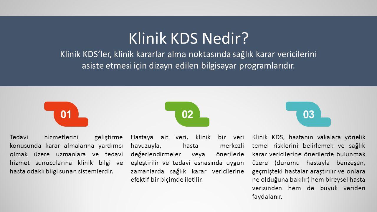 Klinik KDS Nedir? Klinik KDS'ler, klinik kararlar alma noktasında sağlık karar vericilerini asiste etmesi için dizayn edilen bilgisayar programlarıdır