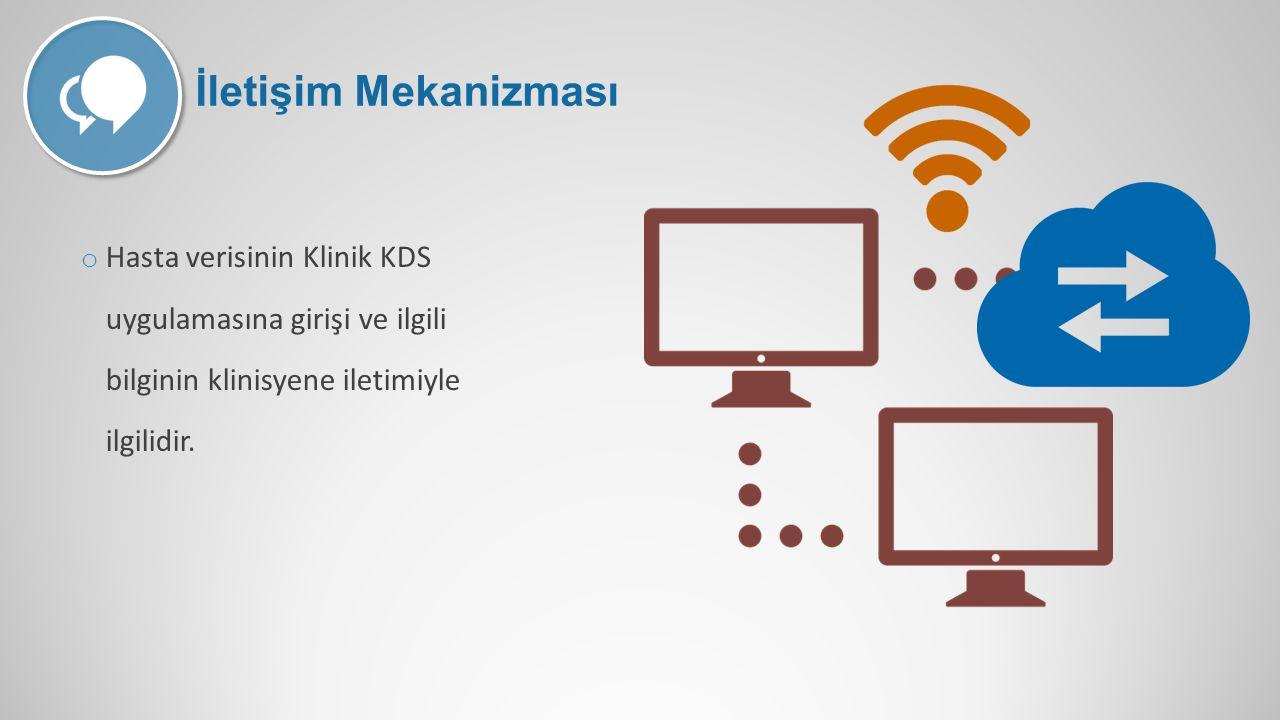o Hasta verisinin Klinik KDS uygulamasına girişi ve ilgili bilginin klinisyene iletimiyle ilgilidir. İletişim Mekanizması