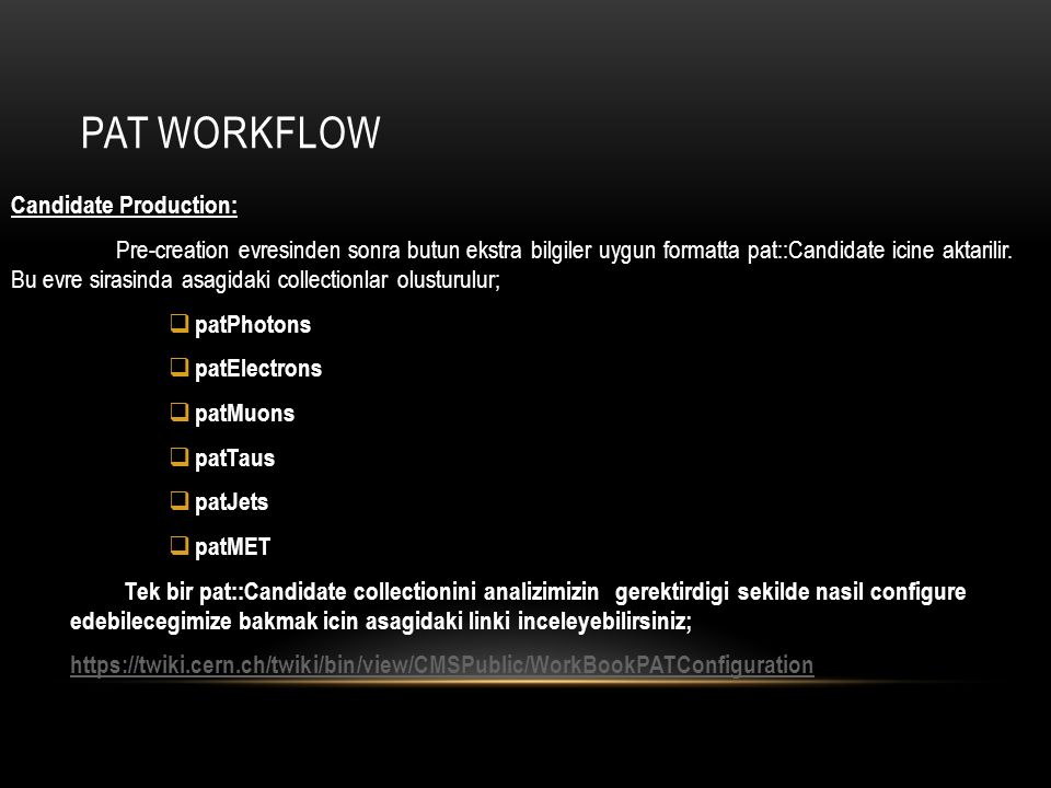 PAT WORKFLOW Candidate Production: Pre-creation evresinden sonra butun ekstra bilgiler uygun formatta pat::Candidate icine aktarilir. Bu evre sirasind