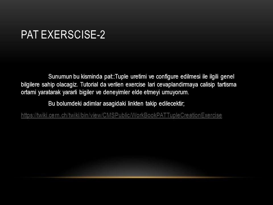 PAT EXERSCISE-2 Sunumun bu kisminda pat::Tuple uretimi ve configure edilmesi ile ilgili genel bilgilere sahip olacagiz. Tutorial da verilen exercise l