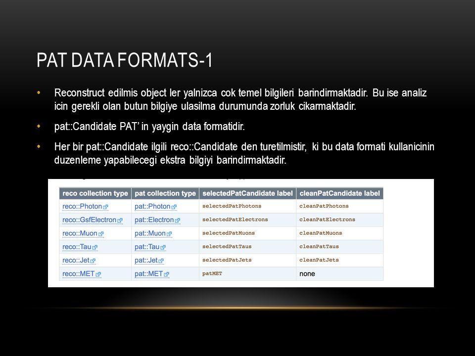 PAT DATA FORMAT-2 reco::Candidate her turden parcacik icin temel data sinifini temsil eder.