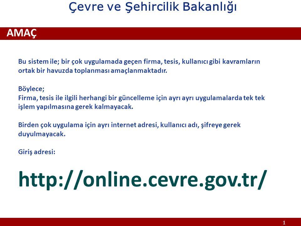 12 ÇEVRE BİLGİ SİSTEMİ KULLANICI İŞLEMLERİ- TESİS Tesislerle ilgili işlemler; Çevre ve Şehircilik Bakanlığı