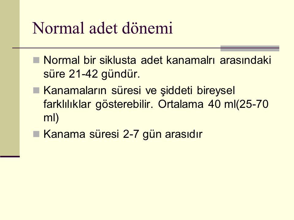 Normal adet dönemi Normal bir siklusta adet kanamalrı arasındaki süre 21-42 gündür. Kanamaların süresi ve şiddeti bireysel farklılıklar gösterebilir.