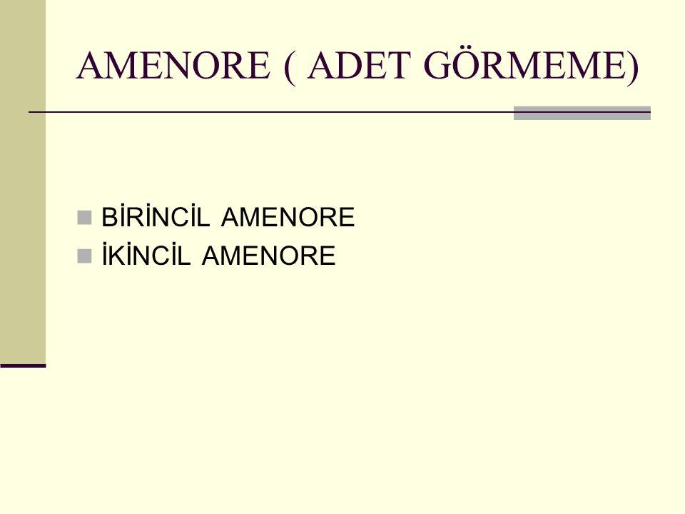 AMENORE ( ADET GÖRMEME) BİRİNCİL AMENORE İKİNCİL AMENORE
