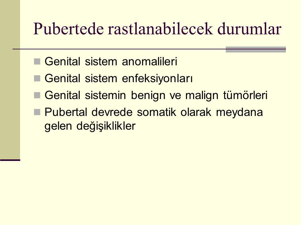 Pubertede rastlanabilecek durumlar Genital sistem anomalileri Genital sistem enfeksiyonları Genital sistemin benign ve malign tümörleri Pubertal devre