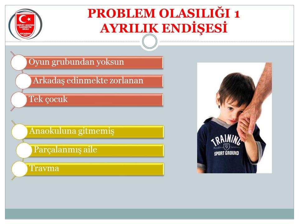 PROBLEM OLASILIĞI 1 AYRILIK ENDİŞESİ Oyun grubundan yoksun Arkadaş edinmekte zorlanan Tek çocuk Anaokuluna gitmemiş Parçalanmış aile Travma
