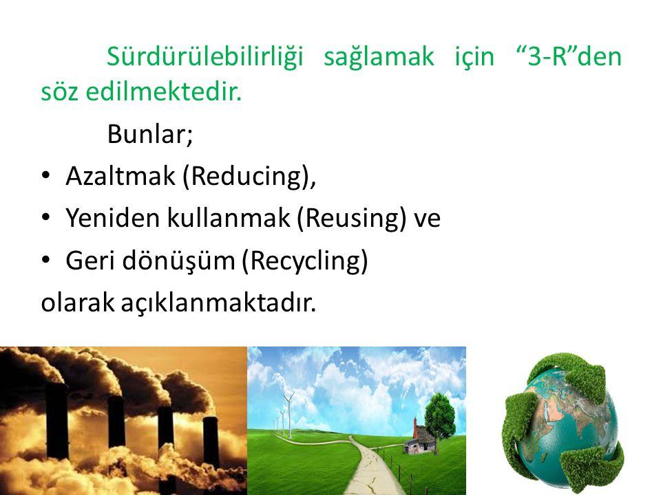 """Sürdürülebilirliği sağlamak için """"3-R""""den söz edilmektedir. Bunlar; Azaltmak (Reducing), Yeniden kullanmak (Reusing) ve Geri dönüşüm (Recycling) olara"""