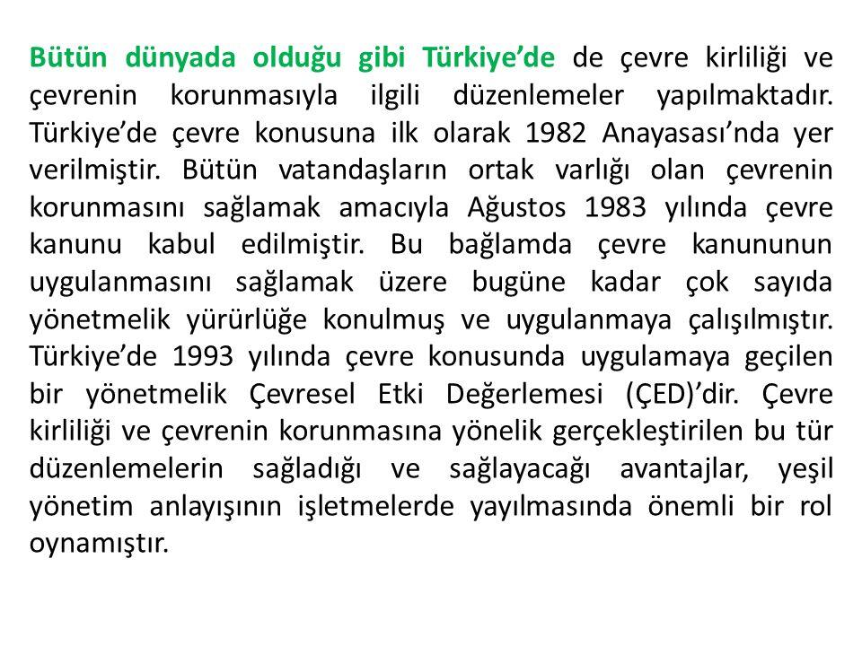 Bütün dünyada olduğu gibi Türkiye'de de çevre kirliliği ve çevrenin korunmasıyla ilgili düzenlemeler yapılmaktadır. Türkiye'de çevre konusuna ilk olar