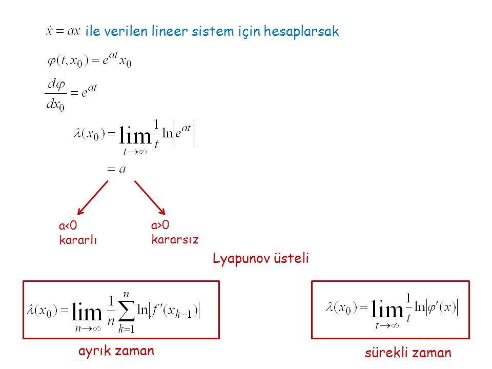 ile verilen lineer sistem için hesaplarsak a<0 kararlı a>0 kararsız Lyapunov üsteli ayrık zaman sürekli zaman
