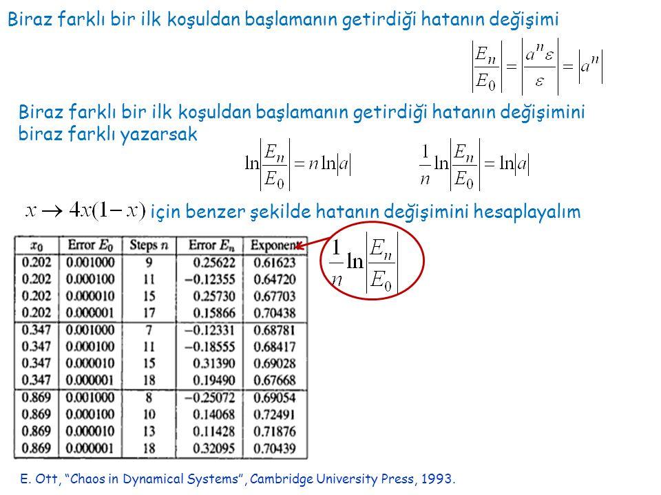 İlk değerler arasındaki fark 10 -6 Hata E.