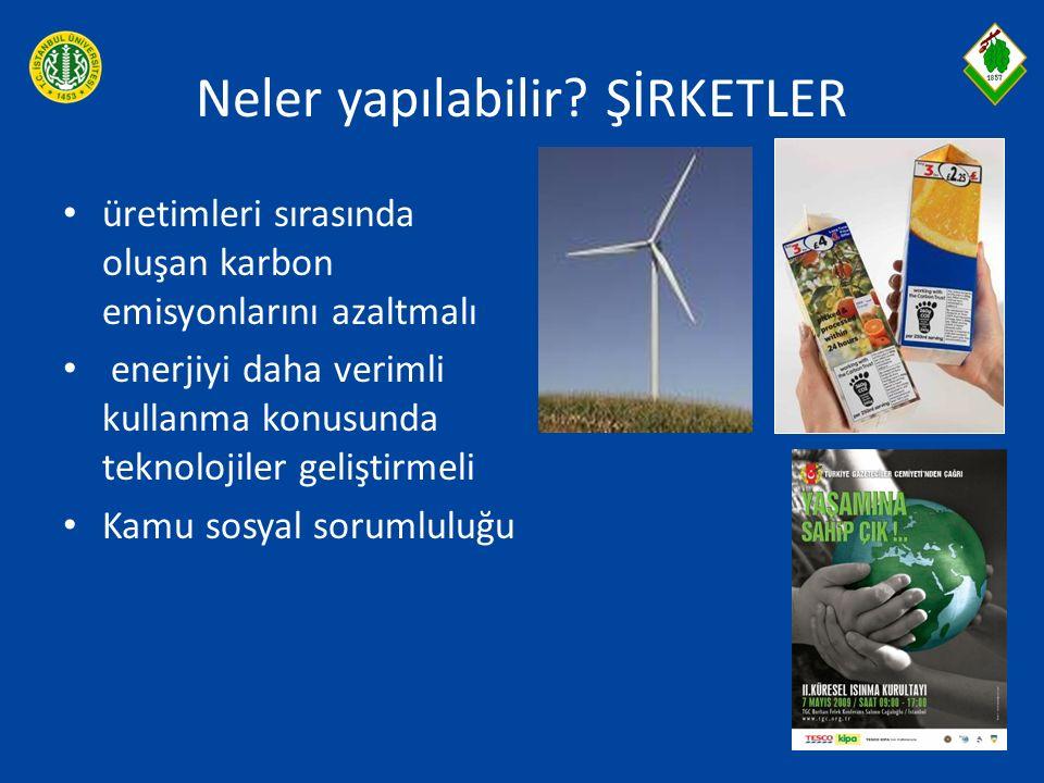 Neler yapılabilir? ŞİRKETLER üretimleri sırasında oluşan karbon emisyonlarını azaltmalı enerjiyi daha verimli kullanma konusunda teknolojiler geliştir