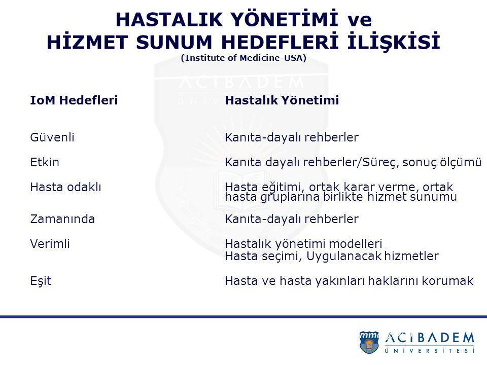 KRONİK HASTALIKLAR VE SÜRDÜRÜLEBİLİRLİK İLİŞKİSİ* Türkiye'de Sağlıkta Dönüşüm: 21.Yüzyılın Getirdiği Fırsatlar, 2012** bulaşıcı olmayan hastalıklar tüm ölümlerin yüzde 70'inden fazlası, yılda 6.5 milyon engelliliğe uyarlanmış yaşam yılı (DALY) kaybı, bu nedenle yıllık gayri safi yurtiçi hasılanın yaklaşık yüzde 8 ile 10'una karşılık gelen bir paranın kaybedildiği, Sonuçta konuşulan büyüklük: Orta Vadeli Program'da 2015 Türkiye Gayri Safi Yurtiçi Hasıla Öngörüsü 719 milyar ABD Doları yüzde 10'u = 71.9 milyar ABD Doları (TÜİK 2014 Yılı Toplam Sağlık Harcaması olarak yayınlanan 43.3 Milyar ABD Dolarının 1.66 katı) * SÜRDÜRÜLEBİLİR SAĞLIK İÇİN ÇÖZÜM ARAYIŞI TÜRKİYE RAPORU 2014 ** Prof.
