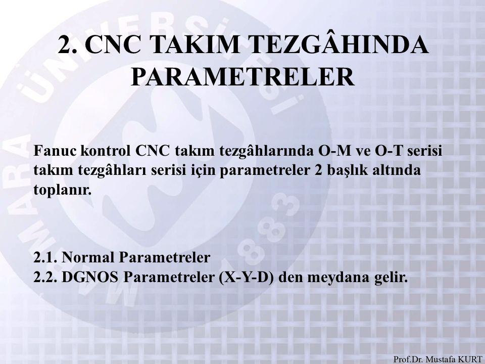 2. CNC TAKIM TEZGÂHINDA PARAMETRELER Fanuc kontrol CNC takım tezgâhlarında O-M ve O-T serisi takım tezgâhları serisi için parametreler 2 başlık altınd