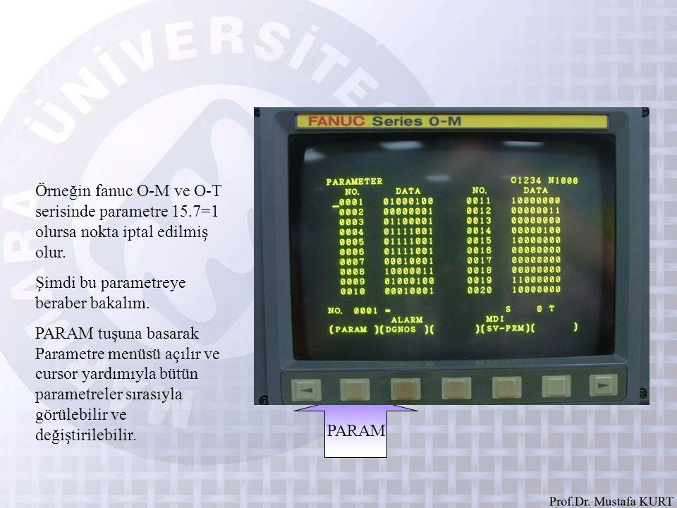 Örneğin fanuc O-M ve O-T serisinde parametre 15.7=1 olursa nokta iptal edilmiş olur. Şimdi bu parametreye beraber bakalım. PARAM tuşuna basarak Parame