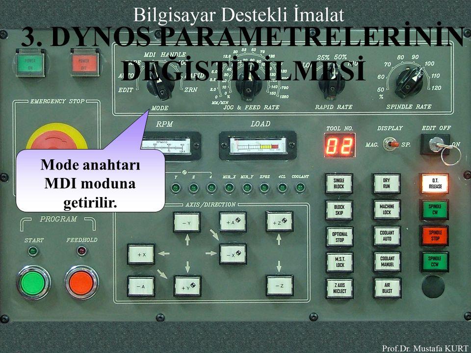 DYNOS PARAM tuşuna basılır.Daha sonra ekran da parametreler bölümü acılır.