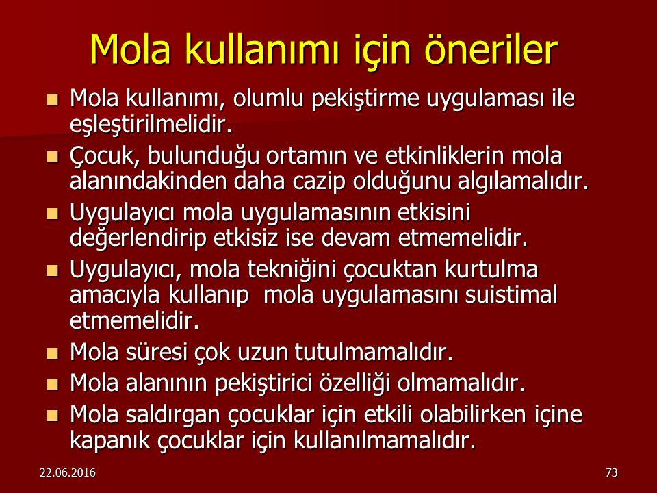 22.06.201672 Mola Mola uygun davranışın ardından belirli bir süre pekiştirme kaynaklarından uzaklaştırılmasıdır. Mola uygun davranışın ardından belirl