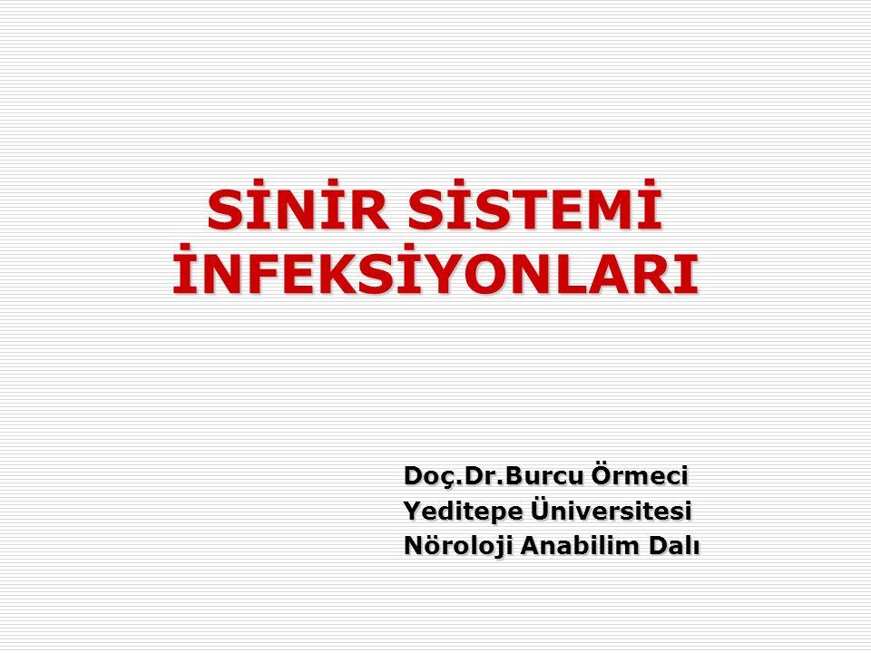 Doç.Dr.Burcu Örmeci Yeditepe Üniversitesi Nöroloji Anabilim Dalı SİNİR SİSTEMİ İNFEKSİYONLARI