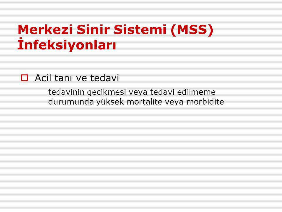 Merkezi Sinir Sistemi (MSS) İnfeksiyonları  Acil tanı ve tedavi tedavinin gecikmesi veya tedavi edilmeme durumunda yüksek mortalite veya morbidite
