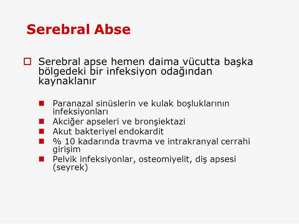 Serebral Abse  Serebral apse hemen daima vücutta başka bölgedeki bir infeksiyon odağından kaynaklanır Paranazal sinüslerin ve kulak boşluklarının infeksiyonları Akciğer apseleri ve bronşiektazi Akut bakteriyel endokardit % 10 kadarında travma ve intrakranyal cerrahi girişim Pelvik infeksiyonlar, osteomiyelit, diş apsesi (seyrek)