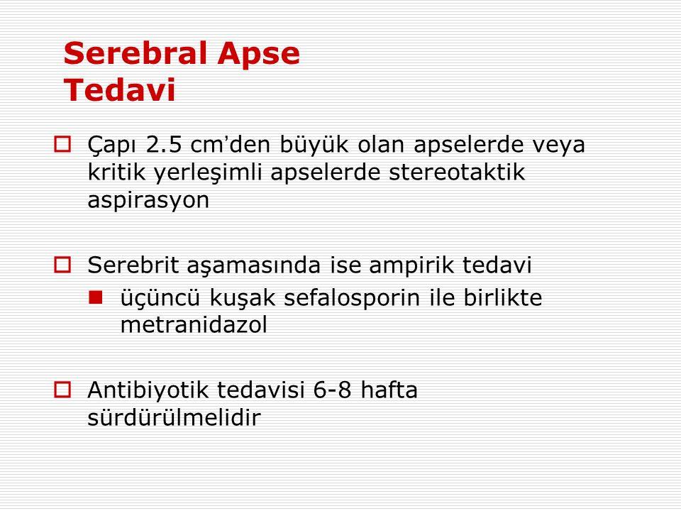  Çapı 2.5 cm ' den büyük olan apselerde veya kritik yerleşimli apselerde stereotaktik aspirasyon  Serebrit aşamasında ise ampirik tedavi üçüncü kuşak sefalosporin ile birlikte metranidazol  Antibiyotik tedavisi 6-8 hafta sürdürülmelidir Serebral Apse Tedavi