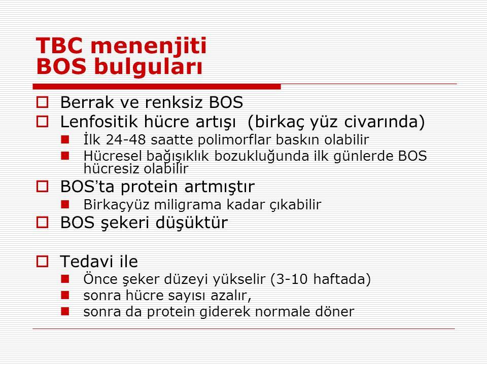 TBC menenjiti BOS bulguları  Berrak ve renksiz BOS  Lenfositik hücre artışı (birkaç yüz civarında) İlk 24-48 saatte polimorflar baskın olabilir Hücresel bağışıklık bozukluğunda ilk günlerde BOS hücresiz olabilir  BOS ' ta protein artmıştır Birkaçyüz miligrama kadar çıkabilir  BOS şekeri düşüktür  Tedavi ile Önce şeker düzeyi yükselir (3-10 haftada) sonra hücre sayısı azalır, sonra da protein giderek normale döner