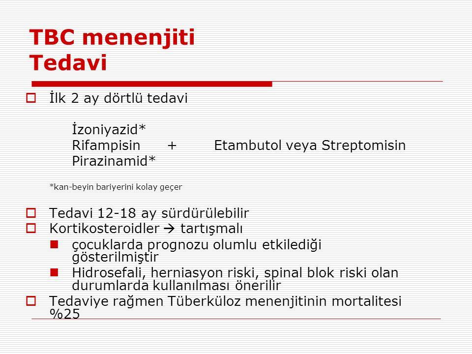 TBC menenjiti Tedavi  İlk 2 ay dörtlü tedavi İzoniyazid* Rifampisin +Etambutol veya Streptomisin Pirazinamid* *kan-beyin bariyerini kolay geçer  Tedavi 12-18 ay sürdürülebilir  Kortikosteroidler  tartışmalı çocuklarda prognozu olumlu etkilediği gösterilmiştir Hidrosefali, herniasyon riski, spinal blok riski olan durumlarda kullanılması önerilir  Tedaviye rağmen Tüberküloz menenjitinin mortalitesi %25
