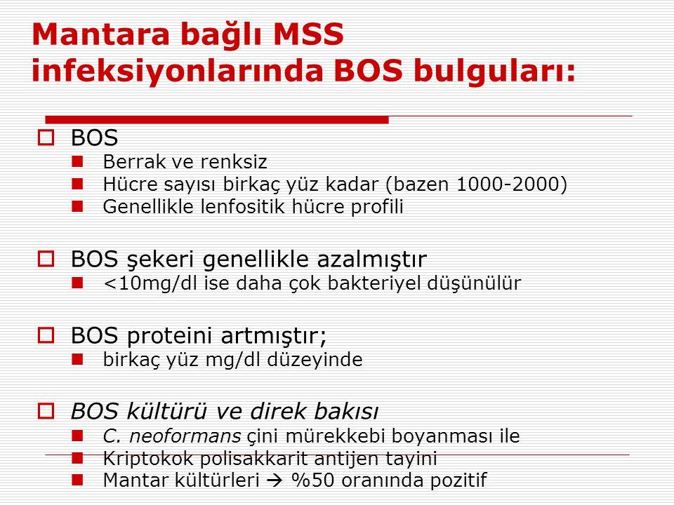 Mantara bağlı MSS infeksiyonlarında BOS bulguları:  BOS Berrak ve renksiz Hücre sayısı birkaç yüz kadar (bazen 1000-2000) Genellikle lenfositik hücre profili  BOS şekeri genellikle azalmıştır <10mg/dl ise daha çok bakteriyel düşünülür  BOS proteini artmıştır; birkaç yüz mg/dl düzeyinde  BOS kültürü ve direk bakısı C.